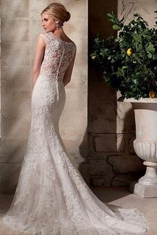 Robe de mariée Sirène Sans Manches Appliques Manquant Tissu Dentelle