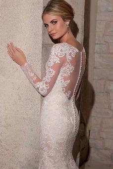Robe de mariée Sirène Haute Couvert Tissu Dentelle Appliques Longue
