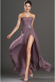 Robe de bal Dragée Sans Manches Poire Taille Naturel Ouverture Frontale