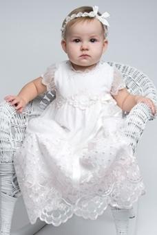Robe cérémonie fille Col ras du Cou Nœud à Boucles Manquant Taille Naturel
