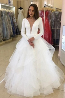 Robe de mariée Manche Longue Longue A-ligne Eglise Taille Naturel
