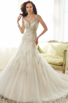 Robe de mariée Tulle Mancheron Haute Couvert A-ligne Salle Appliques