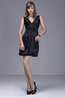 Robe de cocktail Chic Mince Noir Col en V Foncé Courte Zip