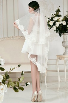 Robe de mariée Plage A-ligne Mancheron Appliques Haute Couvert Manche Courte
