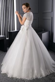 Robe de mariée Princesse Zip Manche Courte Printemps Tulle Longue