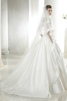 Robe de mariée Mancheron Avec voile Taille chute Milieu A-ligne Col Bateau