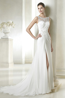 Robe de mariée Sans Manches Fourreau Col Bateau Zip Traîne Mi-longue