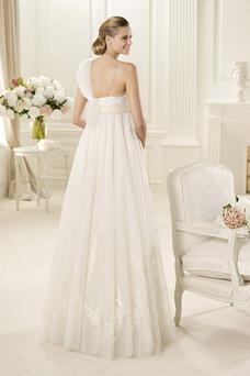 Robe de mariée Empire Traîne Courte Bretelle Unilatérale de Fleuro