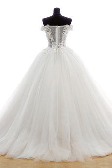 Robe de mariée Hiver Taille Naturel Gaze Mode de Bal Fleurs Traîne Courte