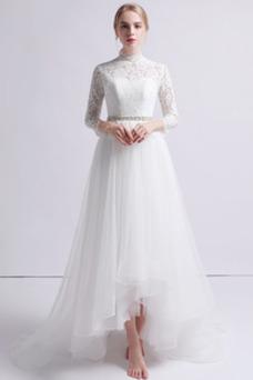 Robe de mariée Tulle Haut Bas Manche Longue Asymétrique Taille Naturel