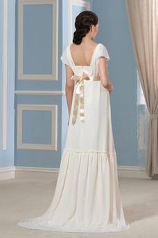 Robe de mariée Empire Col Carré Zip Manche de T-shirt Orné de Rosette
