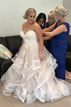 Robe de mariée Grandes Tailles Appliques Organza Taille Naturel Plage