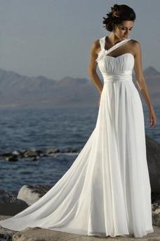Robe de mariée Automne Fleurs Plage Longueur ras du Sol Sans Manches