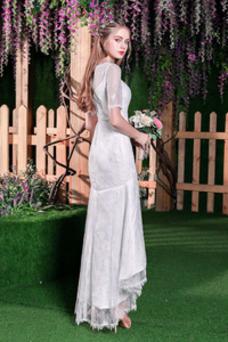 Robe de mariée Sirène Manche Courte Longueur Mollet Couvert de Dentelle