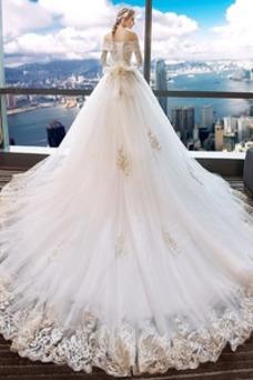 Robe de mariée Luxe Manquant Appliques Longue Printemps Manche Aérienne
