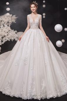 Robe de mariée Taille Naturel Multi Couche Princesse Appliques Lacet
