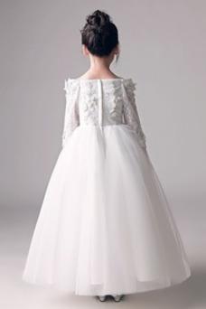 Robe cérémonie fille Fleurs A-ligne Orné de Rosette Printemps Manche de T-shirt