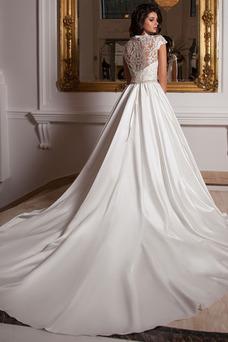 Robe de mariée Haute Couvert Taille Naturel Automne A-ligne Longue