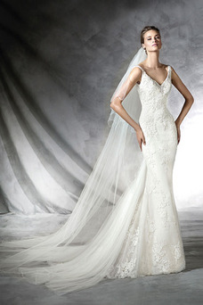 Robe de mariée Taille Naturel Longue Salle Appliques Dos nu Tissu Dentelle