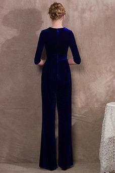 Robe de soirée Printemps Mince Formelle Zip Longueur Cheville Col en V