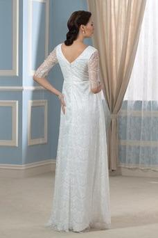 Robe de mariée Manche Longue Col U Profond Taille Empire Elégant Manche Aérienne
