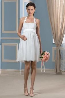 Robe de mariée Empire Mousseline Licou De plein air Grossesse Fourreau plissé