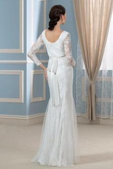 Robe de mariée Empire Elégant Manche Longue Tissu Dentelle Hiver Dentelle