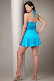 Robe de soirée cocktail Licou Courte Zip A-ligne Bleu Chic