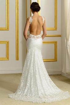 Robe de mariée Mince Elégant Taille Naturel Sirène Couvert de Dentelle