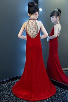 Robe cérémonie fille Fourchure Frontale Chic Taille Naturel Col haut Dos nu