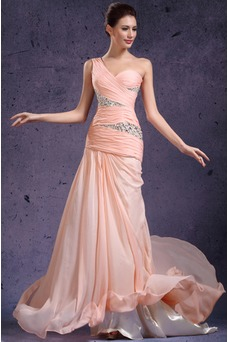 Robe de soirée Mousseline Fourreau plissé Épaule Asymétrique Bébé rose