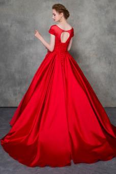 Robe de mariée A-ligne Appliques Taille Naturel Épaule Dégagée Traîne Moyenne