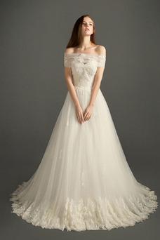 Robe de mariée Tulle A-ligne Taille Naturel Printemps Appliques Couvert de Dentelle