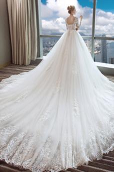 Robe de mariée Printemps A-ligne Dentelle Tissu Dentelle Manche Longue