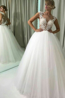 Robe de mariée Chic Taille Naturel Manquant Gaze Perspectif Appliques