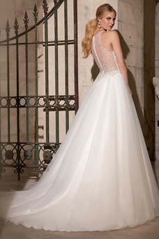 Robe de mariée Traîne Mi-longue A-ligne Gaze Sans Manches Col ras du Cou