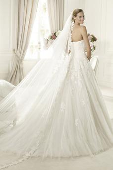 Robe de mariée Longue A-ligne Tulle Eglise Zip Sans Manches