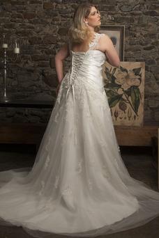 Robe de mariée Automne Longue A-ligne Lacet Perle Salle