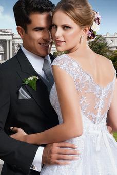 Robe de mariée Manche Courte Taille Naturel A-ligne Mancheron Zip