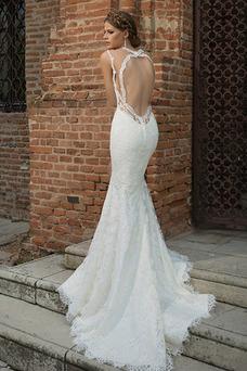 Robe de mariée Plage Sans Manches Informel Longue Appliques Col ras du Cou