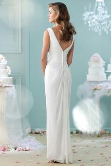 Robe de mariée Plage Taille Naturel Été Longue Ouverture Frontale