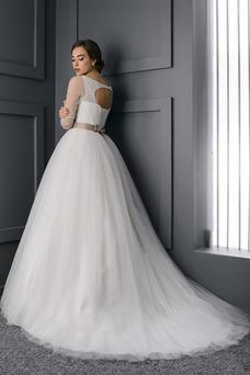 Robe de mariée Col en V Manche Aérienne Lacet Manche Longue Traîne Mi-longue