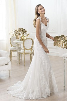 Robe de mariée Dos nu A-ligne Tulle Printemps Traîne Courte Taille Naturel