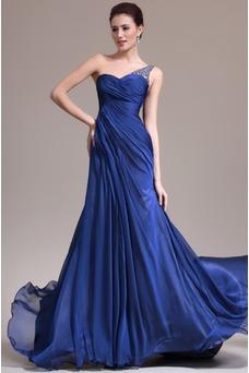 Robe de soirée Sirène Sans Manches Manquant Ruché Gaze Bleu de minuit