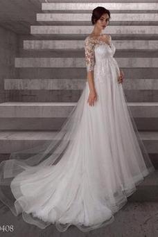 Robe de mariée Empire Simple Tissu Dentelle Longue Manche Aérienne