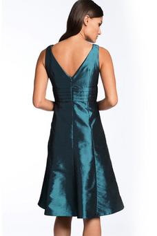 Robe de cocktail Longue A-ligne Fourreau plissé Bleu paon Taffetas Milieu