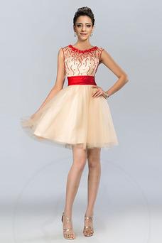 Robe de gala Tulle Glamour Perle Sans Manches Été Col ras du Cou