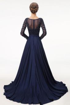 Robe de bal Luxe Fourreau Avec Bijoux Traîne Courte Gaze Taille Naturel