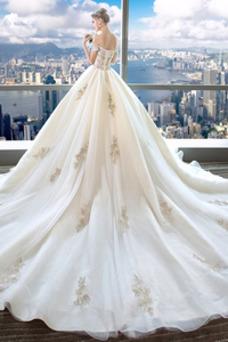 Robe de mariée Mancheron Couvert de Dentelle Manche Courte Traîne Royal