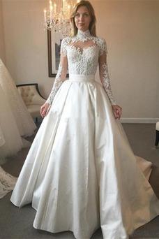 Robe de mariée Longue Manche Longue Taille Naturel Formelle Appliques